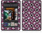 Amazon Kindle Fire (Original) Decal Style Skin - Splatter Girly Skull Pink