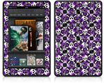 Amazon Kindle Fire (Original) Decal Style Skin - Splatter Girly Skull Purple