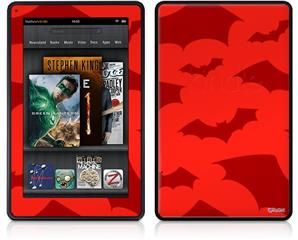Amazon Kindle Fire (Original) Decal Style Skin - Deathrock Bats Red