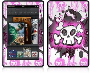 Amazon Kindle Fire (Original) Decal Style Skin - Cartoon Skull Pink