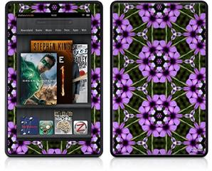 Amazon Kindle Fire (Original) Decal Style Skin - Floral Pattern Purple