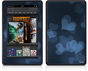 Amazon Kindle Fire (Original) Decal Style Skin - Bokeh Hearts Blue