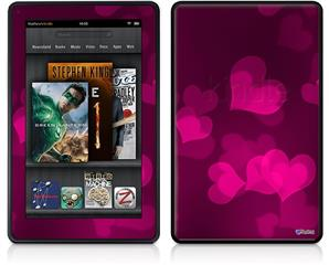 Amazon Kindle Fire (Original) Decal Style Skin - Bokeh Hearts Hot Pink