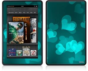 Amazon Kindle Fire (Original) Decal Style Skin - Bokeh Hearts Neon Teal