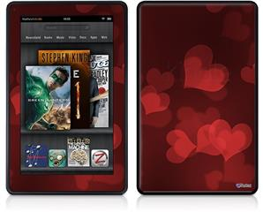 Amazon Kindle Fire (Original) Decal Style Skin - Bokeh Hearts Red