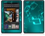 Amazon Kindle Fire (Original) Decal Style Skin - Bokeh Music Neon Teal