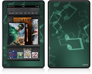 Amazon Kindle Fire (Original) Decal Style Skin - Bokeh Music Seafoam Green