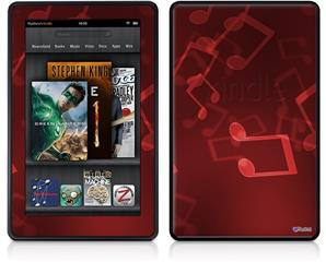 Amazon Kindle Fire (Original) Decal Style Skin - Bokeh Music Red