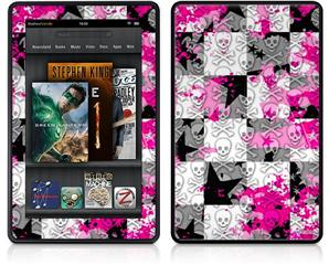 Amazon Kindle Fire (Original) Decal Style Skin - Checker Skull Splatter