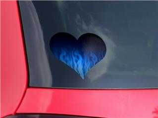 Fire Flames Blue - I Heart Love Car Window Decal 6.5 x 5.5 inches