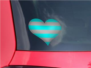 Psycho Stripes Neon Teal and Gray - I Heart Love Car Window Decal 6.5 x 5.5 inches