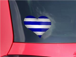 Psycho Stripes Blue and White - I Heart Love Car Window Decal 6.5 x 5.5 inches