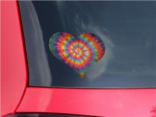 Tie Dye Swirl 107 - I Heart Love Car Window Decal 6.5 x 5.5 inches