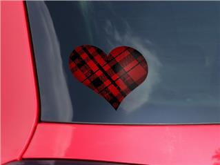 Red Plaid - I Heart Love Car Window Decal 6.5 x 5.5 inches