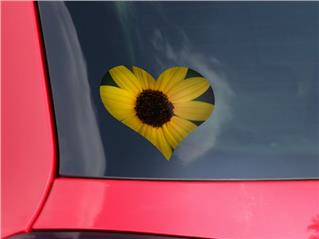 Yellow Daisy - I Heart Love Car Window Decal 6.5 x 5.5 inches