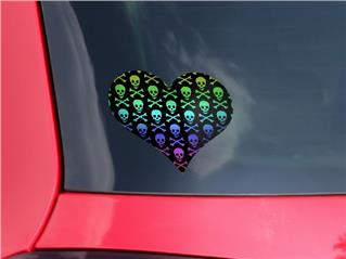Skull and Crossbones Rainbow - I Heart Love Car Window Decal 6.5 x 5.5 inches