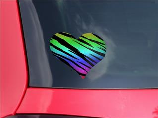 Tiger Rainbow - I Heart Love Car Window Decal 6.5 x 5.5 inches