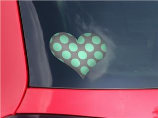 Kearas Polka Dots Mint And Gray - I Heart Love Car Window Decal 6.5 x 5.5 inches
