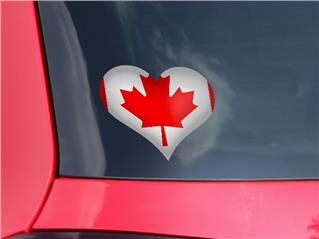 Canadian Canada Flag - I Heart Love Car Window Decal 6.5 x 5.5 inches