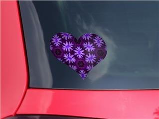 Abstract Floral Purple - I Heart Love Car Window Decal 6.5 x 5.5 inches