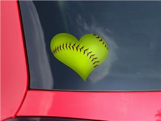 Softball - I Heart Love Car Window Decal 6.5 x 5.5 inches