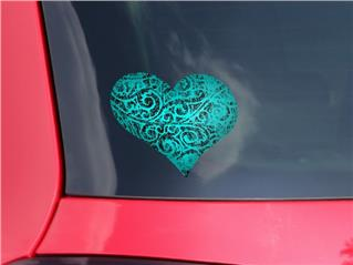 Folder Doodles Neon Teal - I Heart Love Car Window Decal 6.5 x 5.5 inches