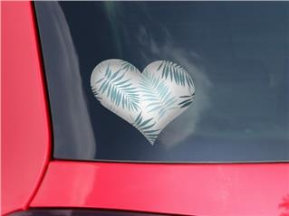 Palms 02 Blue - I Heart Love Car Window Decal 6.5 x 5.5 inches