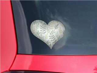 Watercolor Leaves White - I Heart Love Car Window Decal 6.5 x 5.5 inches