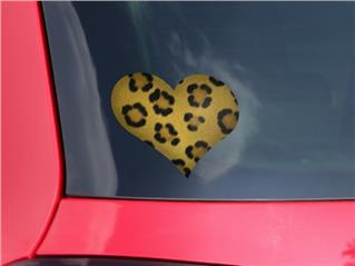 Leopard Skin - I Heart Love Car Window Decal 6.5 x 5.5 inches