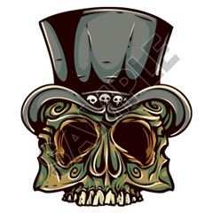Skull Tophat 21x24 inch - Fabric Wall Skin Decal