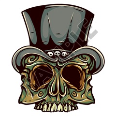 Skull Tophat 41x48 inch - Fabric Wall Skin Decal