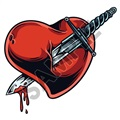 Heart Stabbed 47x45 inch - Fabric Wall Skin Decal