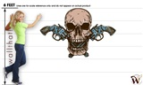 Skull 6 Shooters 71x47 inch - Fabric Wall Skin Decal