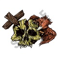 Skull Cross 66x47 inch - Fabric Wall Skin Decal