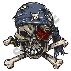 Skull Pirate 47x48 inch - Fabric Wall Skin Decal