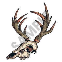 Deer Skull Horns 01 41x48 inch - Fabric Wall Skin Decal