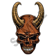 Skull Ram Horns 04 47x76 inch - Fabric Wall Skin Decal